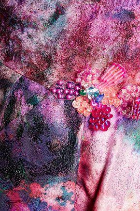 MARCHESA NOTTE Ruffled embellished metallic jacquard mini dress