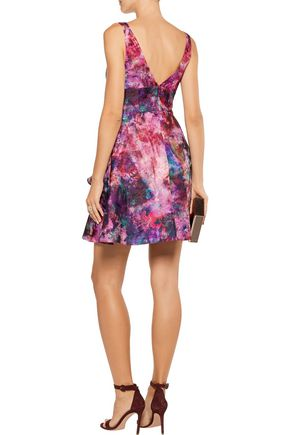MARCHESA NOTTE Ruffled embellished metallic jacquard mini dress