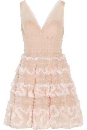 MARCHESA NOTTE Embellished ruffle tulle mini dress