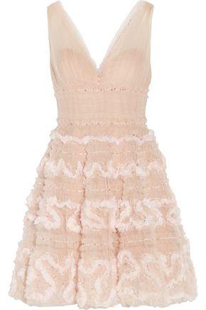 MARCHESA NOTTE Sequin-embellished tulle mini dress