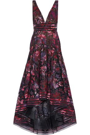 MARCHESA NOTTE Asymmetric pleated floral-embroidered tulle gown