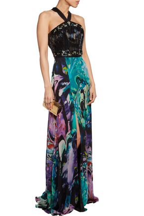 MATTHEW WILLIAMSON Embellished printed silk-chiffon gown
