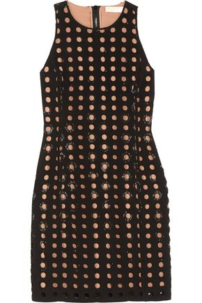 MICHAEL MICHAEL KORS Bead-embellished laser-cut crepe dress