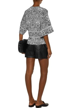 IRO Dalanie pointelle-trimmed printed crepe de chine top
