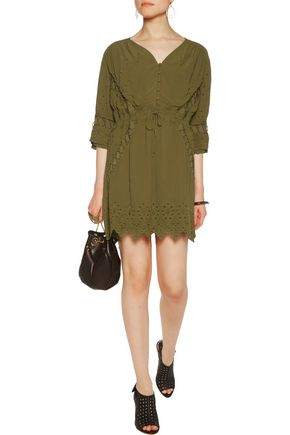 IRO Fedra broderie anglaise-paneled broadcloth mini dress