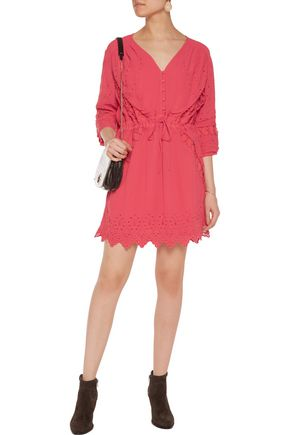 IRO Fedra broderie anglaise-paneled broadcloth mini dress