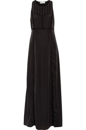IRO Georgy pointelle-trimmed crepe de chine maxi dress