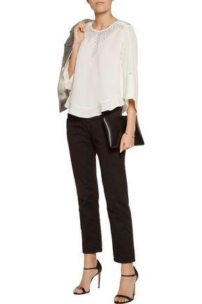 IRO Robin embellished lace-trimmed crepe top
