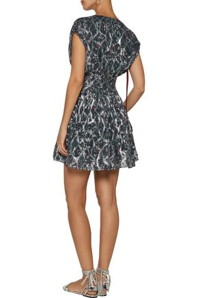 IRO Flavia printed fil coupé silk-blend mini dress