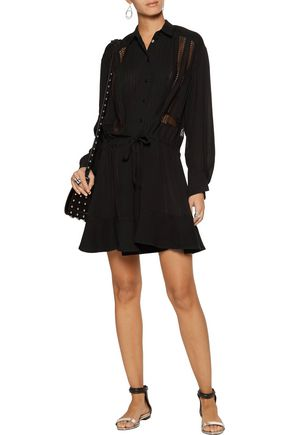IRO Francy crochet-trimmed georgette mini dress