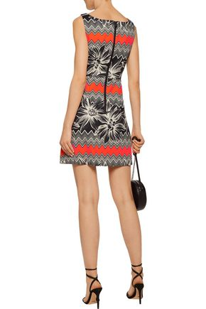 MILLY Mitered pleated printed cotton-blend mini dress
