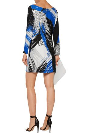 MILLY Printed crepe mini dress