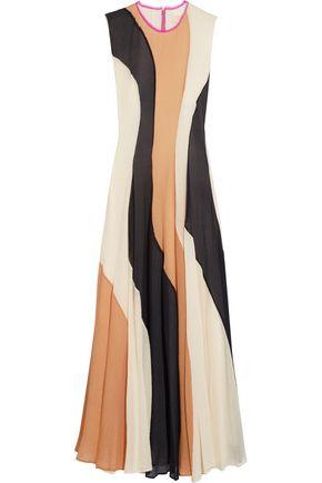 ROKSANDA Color-block gauze and silk crepe de chine dress