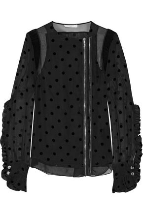 GIVENCHY Silk crepe de chine-paneled flocked silk-blend faille jacket