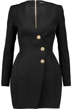 BALMAIN Paneled wool mini dress