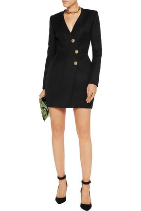 BALMAIN Paneled wool mini dress