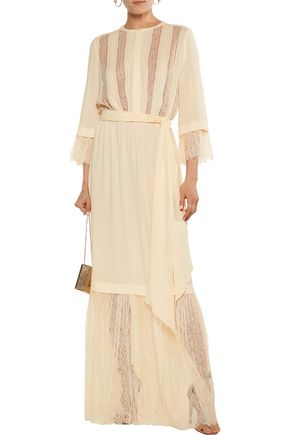 MICHAEL KORS COLLECTION Lace-paneled pintucked silk-georgette maxi dress