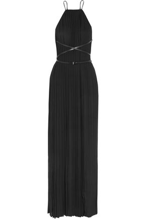 MICHAEL KORS COLLECTION Belted plissé-chiffon gown