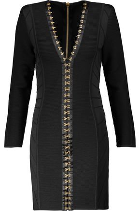 BALMAIN Satin-trimmed embellished paneled bandage mini dress
