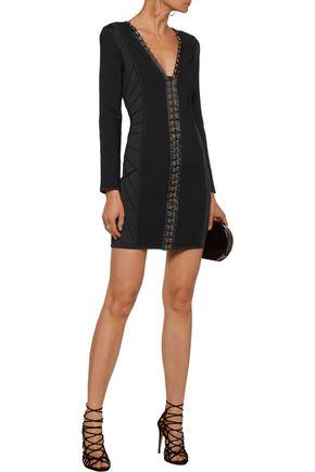 BALMAIN Satin-trimmed embellished paneled bandage mini dress