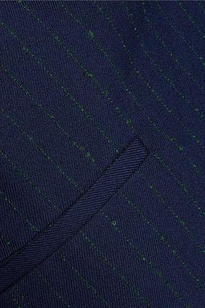 LA LIGNE Fringed pinstriped wool-blend blazer