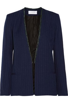 LA LIGNE Fringed pinstriped wool-blend blazer