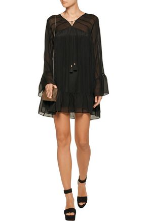 RACHEL ZOE Anita paneled crinkled silk-chiffon mini dress
