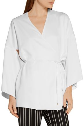 ROSETTA GETTY Cutout satin wrap top