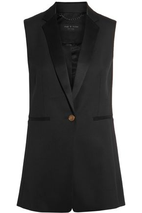 RAG & BONE Satin-trimmed wool-blend crepe vest