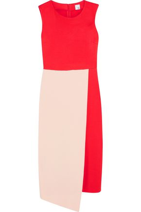 IRIS & INK Kendra asymmetric two-tone stretch-jersey dress