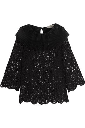 MERCHANT ARCHIVE Silk organza-trimmed corded cotton-blend lace top
