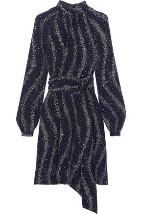 VANESSA SEWARD Cecily printed silk crepe de chine turtleneck mini dress