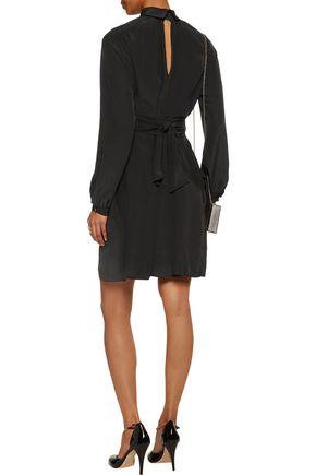 VANESSA SEWARD Cecily belted silk turtleneck mini dress