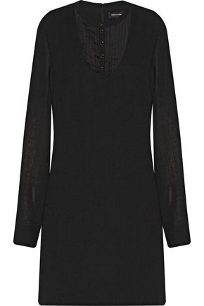 VANESSA SEWARD Charme pintucked silk-paneled wool mini dress