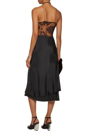 HAIDER ACKERMANN Lace-paneled silk-satin midi dress