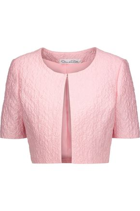 OSCAR DE LA RENTA Cropped cotton-blend cloqué jacket