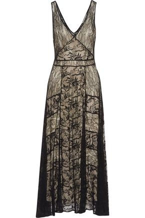 ALICE+OLIVIA Phyllis pleated lace maxi dress