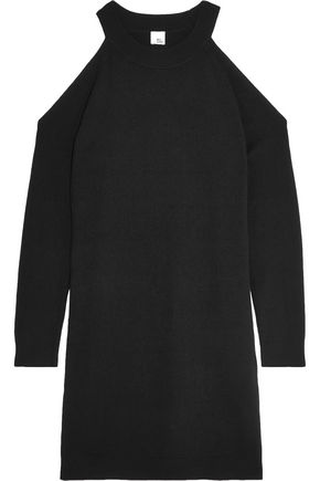 IRIS AND INK Francesca cold-shoulder wool and cashmere-blend mini dress