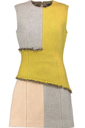 ACNE STUDIOS Ebele frayed paneled wool-blend mini dress