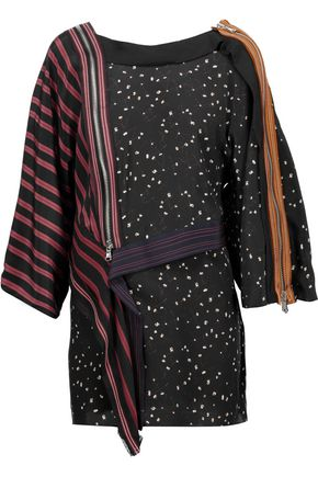 3.1 PHILLIP LIM Zip-detailed printed silk crepe de chine top