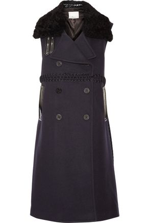 3.1 PHILLIP LIM Shearling-trimmed whipstitched wool-blend gilet
