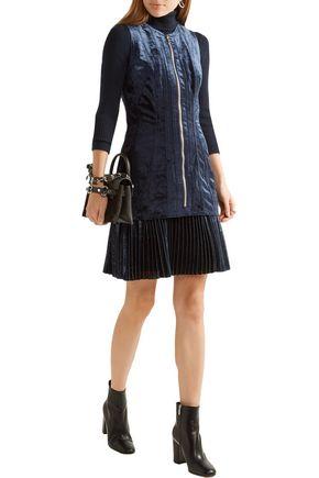 3.1 PHILLIP LIM Pleated metallic chiffon-paneled velvet mini dress