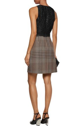3.1 PHILLIP LIM Paneled cloqué and houndstooth wool-tweed mini dress