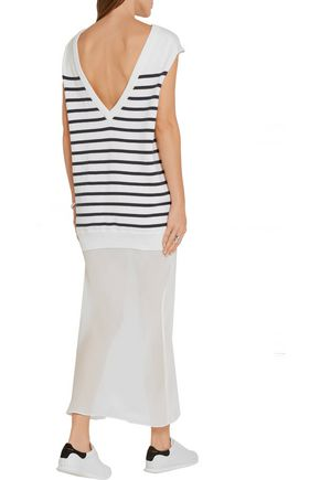 T by ALEXANDER WANG Striped cotton and silk-crepe dress