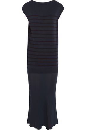 T by ALEXANDER WANG Striped cotton and silk-crepe maxi dress