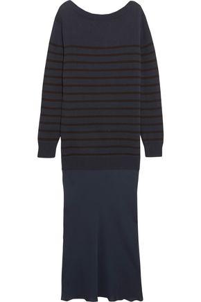 T by ALEXANDER WANG Striped cotton-jersey and silk-chiffon maxi dress