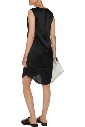 T by ALEXANDER WANG Layered silk-charmuse and chiffon mini dress
