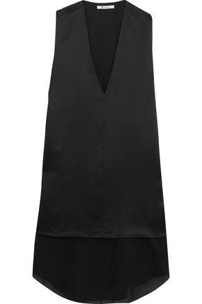 T by ALEXANDER WANG Layered silk-charmuse and chiffon mini dress