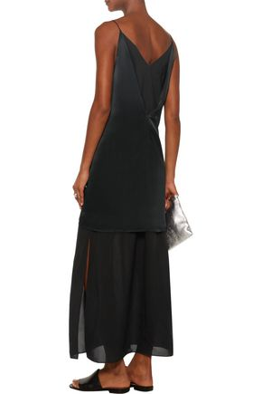T by ALEXANDER WANG Layered silk-satin and crepe de chine maxi dress