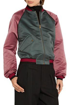 TOMAS MAIER Two-tone duchesse-satin bomber jacket